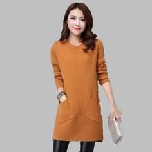 2016 New Dress Autumn Winter Large size Medium-long Woollen Sweater dress Bottoming Shirt Slim Thin Female Fashion Sweater AB20