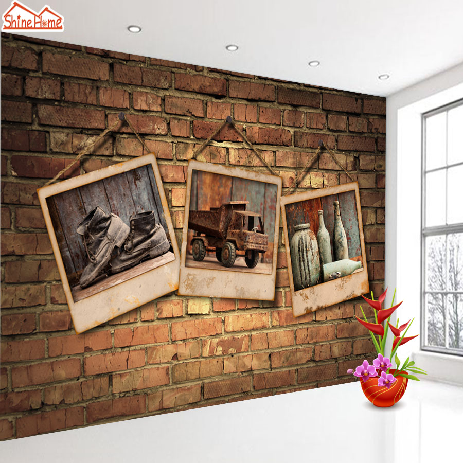 ShineHome- Large Custom Cafe Bar Brick Photo Wallpapers 3D Wall Murals Contact Paper Home Decor Living Room Wallpaper-Roll-Size custom photo 3d ceiling murals wall paper blue sky rose flower dove room decor painting 3d wall murals wallpaper for walls 3 d