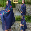 Navy Blue Women Large Embroidered Cotton&Linen Floral Scarf Pashmina Shawl Muslim Turban free shipping