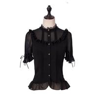 MANLUYUNXIAO Black Shirt Lolita Cute Short Sleeved Woman Original Design 2019 Gothic Lolita Sweet Lolita Lolita Dress Black