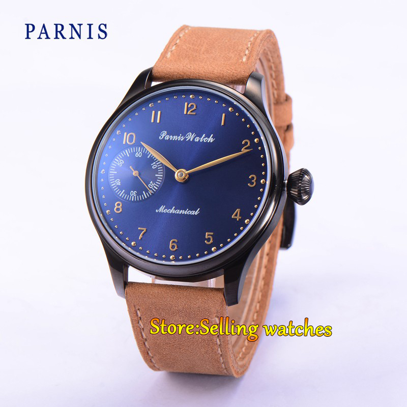 все цены на  44mm Parnis Hand Winding Mechanical Dark Blue Dial PVD Case Men's Wrist Watch  в интернете