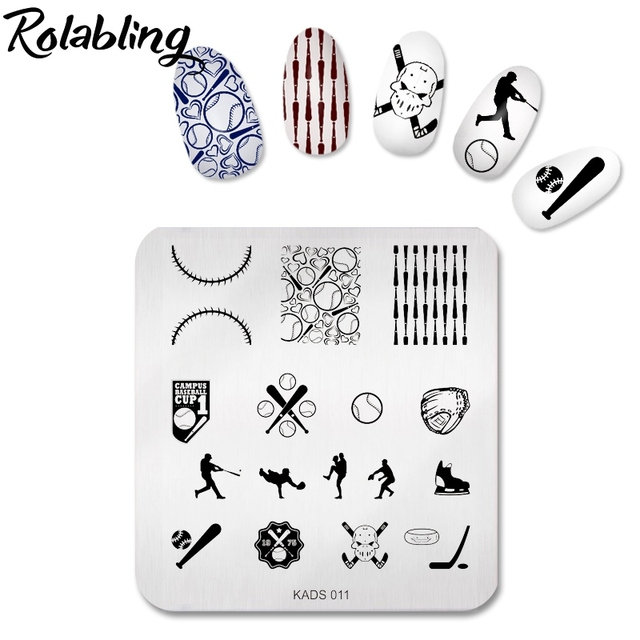 new fashion baseball theme sport design nail art stamping plate