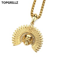 NEW Skull Indians Hip Hop Necklace Jewelry Popular Logo Men And Women