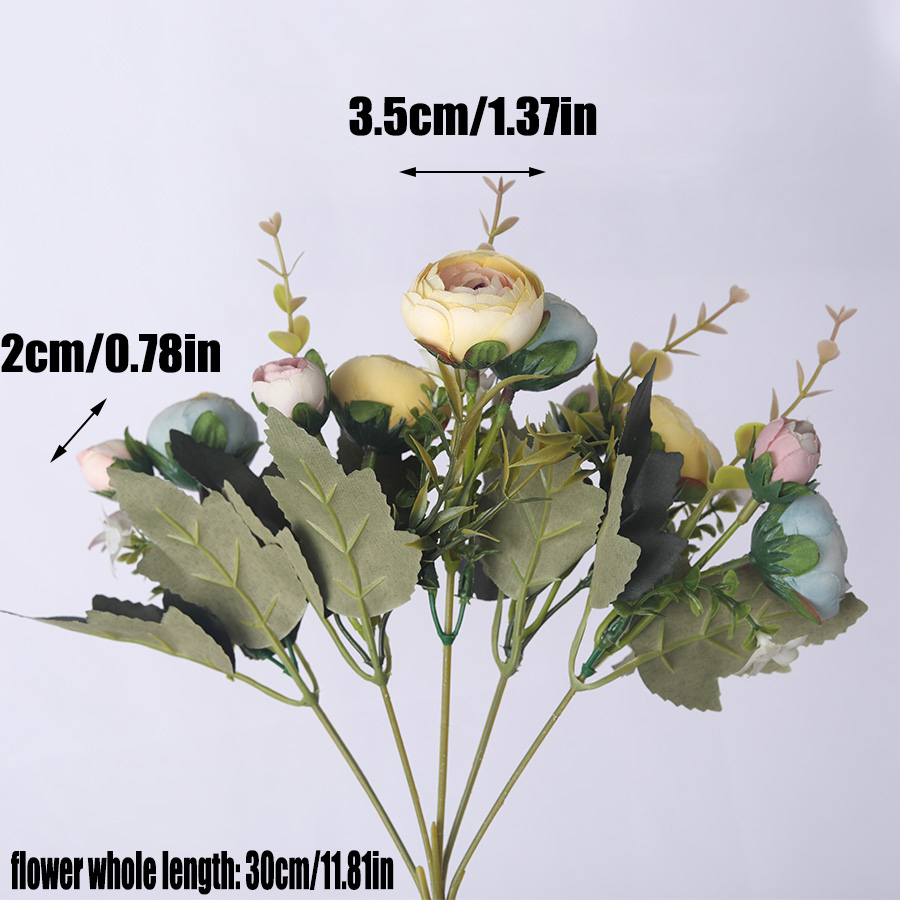 European Vintage Silk Tea Rose Artificial Flowers With 6 head And 4 Small bud Bouquet 5