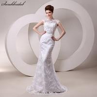 Lace Mermaid Vestido De Noiva Wedding Dresses Beads Sequins Sash Sheer Neckline Bridal Gowns 2016 Hot
