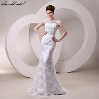 Lace Mermaid Vestido De Noiva Wedding Dresses Beads Sequins Sash Sheer Neckline Bridal Gowns 2017 Hot Sale Real Photos SW027