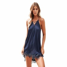 Summer New Zealand popular fashion personality sling v-neck solid color hollow sexy slim female lace dress
