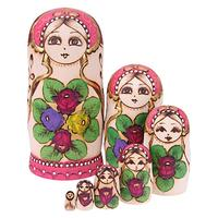 Round Belly Russian Dolls Set Wooden Matryoshka Handmade Crafts Doll Hand Paint Toys Home Decoration New Year Gifts