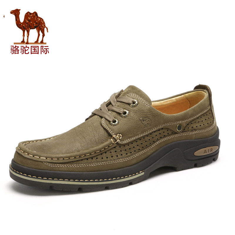 Camel 2016 new leather shoes summer hollow breathable men's outdoor casual shoes men A612090050