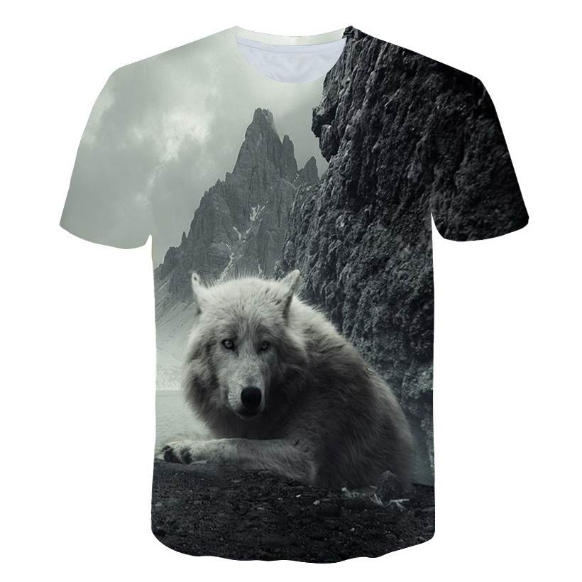 Wolf T shirt Jungle shirts Animal Clothing Tees Clothes Tops Men Mens Male Slim Homme