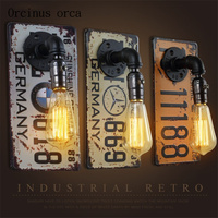 Retro Industrial Wind License Plates Water Pipes Wall Lamps Restaurants Bars Corridors Bedrooms Creative Iron Wall