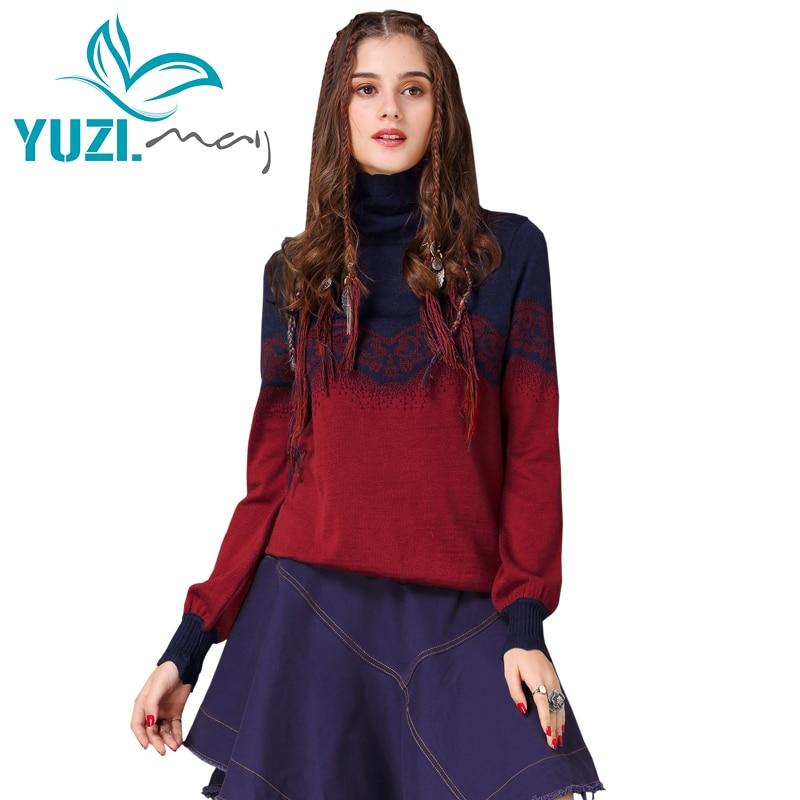 Christmas Sweater For Women 2017 Yuzi may Boho Winter New Cotton Wool Pullover Turtleneck Lantern Sleeve