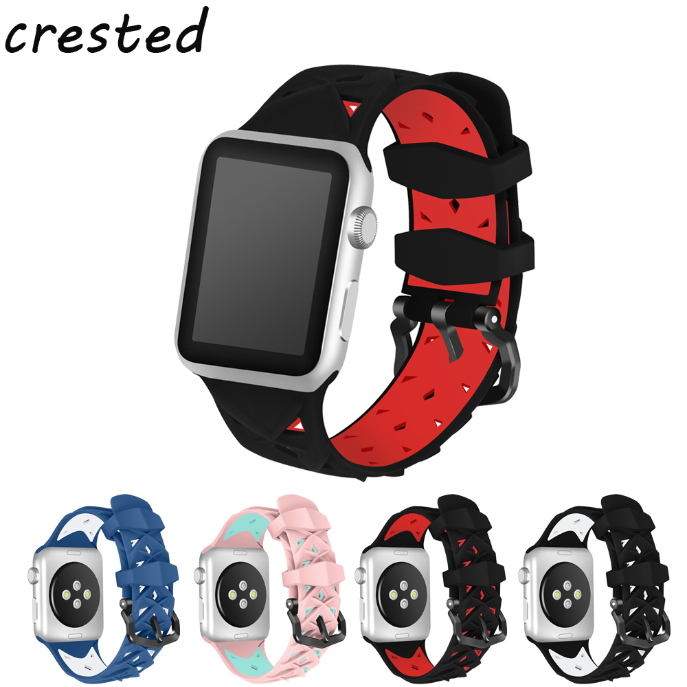 CRESTED sport silicone strap for apple watch band 42mm 38mm iwatch 3/2/1 Double color rubber wrist bracelet replacement band crested sport band for apple watch 3 42mm 38mm strap for iwatch nike 3 2 1 wrist band bracelet silicone strap