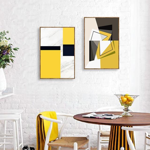 G om trie abstraite peinture d corative salon canap for Peinture mur salle a manger