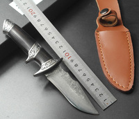 Swayboo high grade gold and silver Damascus steel small straight knife collection gifts damask knife outdoor hungting knives