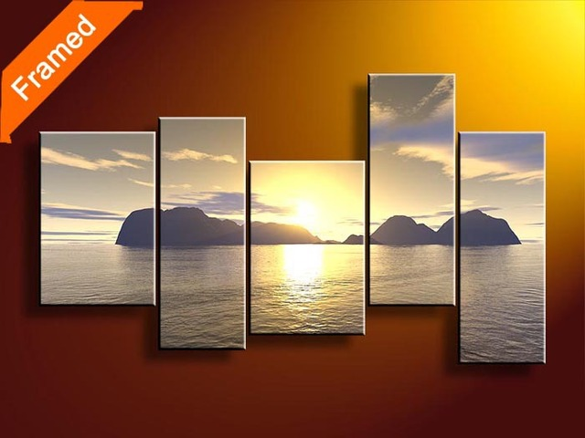 Panels paint sunrise oil painting for office room decoration canvas art reproduction oil painting for friends