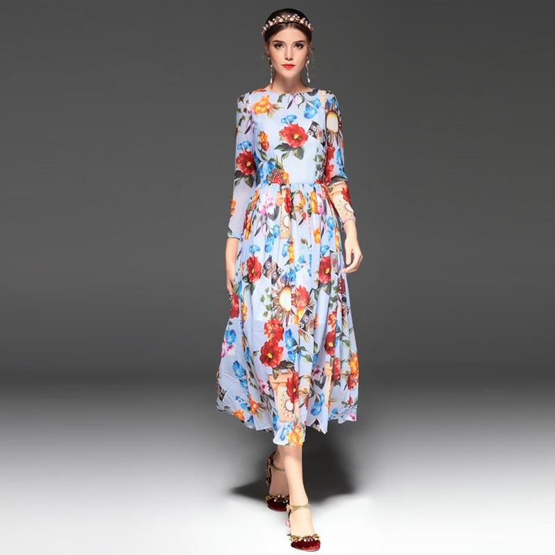 Flare Fit Et Fleur 2018 Fille D'été Partie Robe Multi Floral Élégant Mi Bohème mollet Impression Printemps Poignet Femmes 4EAwqABd