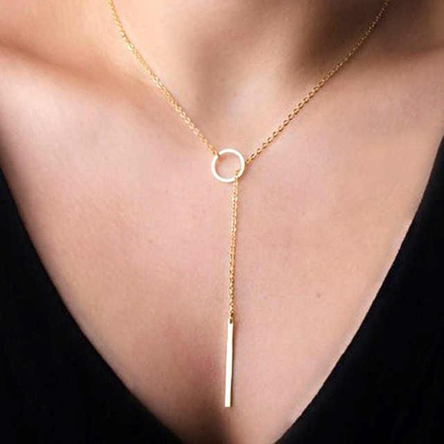 Romantyczne akcesoria damskie Hot moda metal platerowany łańcuszek koło naszyjnik lasso długa taśma wisiorek naszyjniki biżuteria