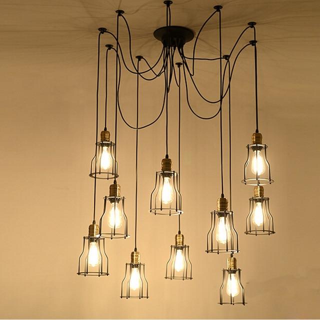 Black Spider Chandelier Lamp with Iron Cover Vintage Retro Pendant Edison Creative 1/6/10/ Head DIY Ceiling Pendant Lamp WPL079