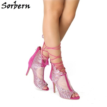 Sorbern Gladiator Sandals Breathable Mesh Zipper High Heels Women Shoes Summer Stilettos For Ladies Peep Toe Fashion Sandals