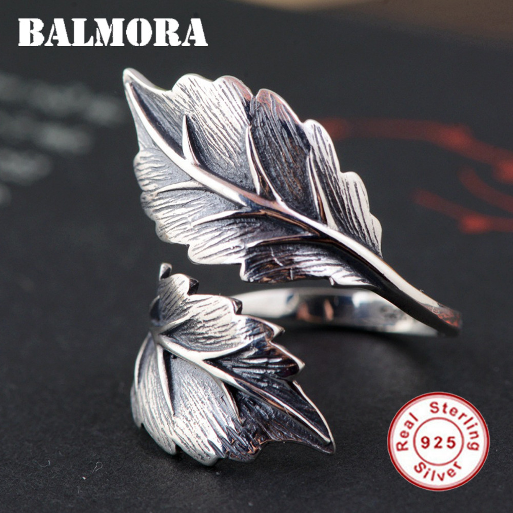 BALMORA 100% Real 925 Sterling Silver Jewelry Vintage Leaf Open Rings for Women Men Gift High Quality Jewelry Anillos SY22071