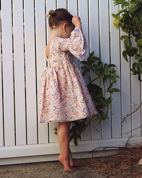 Girl Flower Dresses Kids Clothing Spring Princess Lace Baby Dress Christmas Flare Sleeve Party Dress Children Clothes