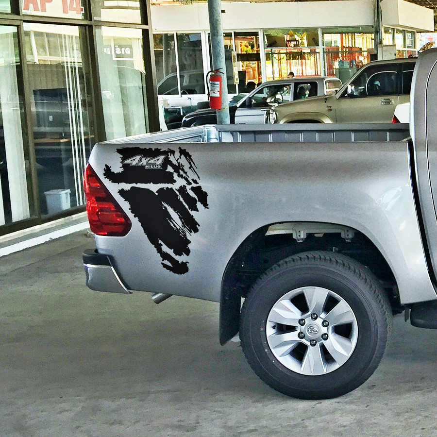 free shipping 4X4 hilux off road dirty texture gradient graphic vinyl car sticker for toyota hilux revo pickup accessories high quality 10pa15c ac compressor for car toyota hilux revo dsl 447170 2721 4471702721