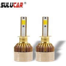 SULUCAR 12V Dual Color H7 H4 LED  Car Headlight Bulbs H1 H3 H11 H8 H9 9005 HB3 9006 72W COB Lights 3000K 6000K 8000lm