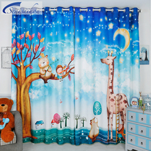 Senisaihon 3D Blackout Curtains Blue Cartoon Small Deer Bear Pattern Thickened  Fabric Children Bedroom Curtains for Living Room