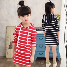 Spring Autumn Girl Dress Hooded Long Sleeve Kids Clothes baby Party  Dresses Children Clothing Striped Tutu Baby Dresses Girls muslim maxi dresses baby girls clothes costume children long sleeve dress bow scarf vestidos girl clothing sets party holiday
