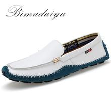 Купить с кэшбэком BIMUDUIYU Big Size High Quality Genuine Leather Men Shoes Soft Moccasins Fashion Brand Men Flats Comfy Casual Driving Boat38-47