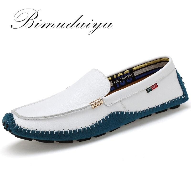 BIMUDUIYU Tamanho Grande de Alta Qualidade do Couro Genuíno Homens Sapatos Marca de Moda Men Flats Comfy Casual Condução Mocassins Macios Boat38-47