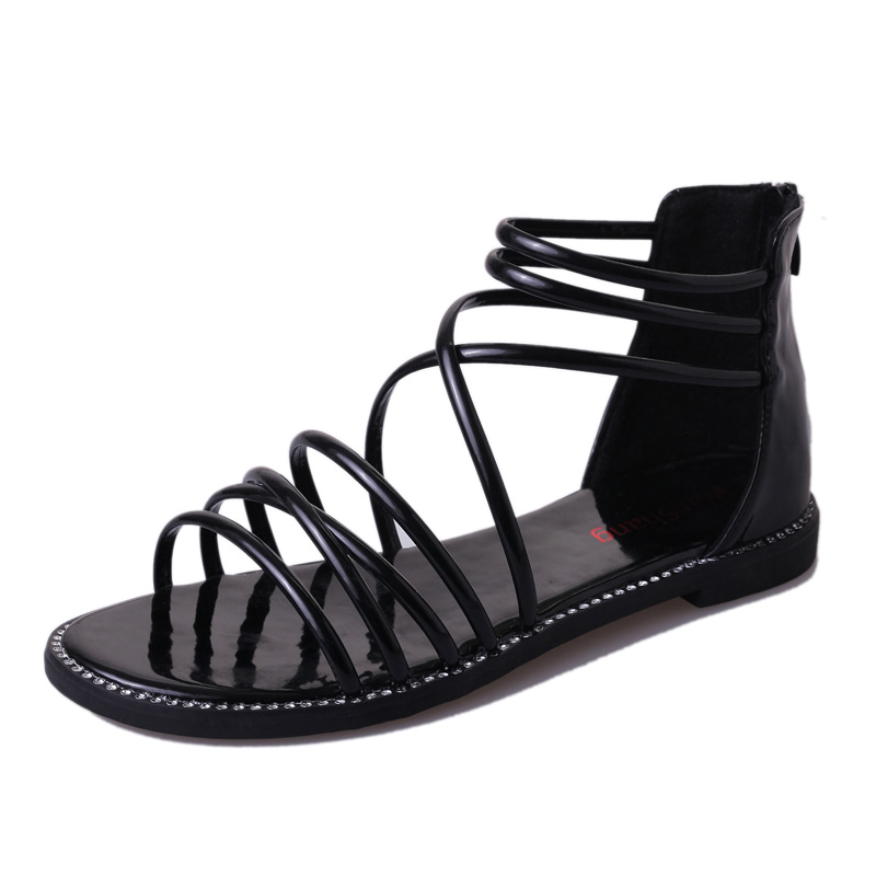 DQG 2018 Summer Women Shoes Sandals Casual Gladiator Cover Heel Flat Sandalias Mujer Ladies Rome Zapatos Chaussures Femme royyna new sweet style women sandals cover heel summer gingham women shoes casual gladiator ladies shoes soft fast free shipping