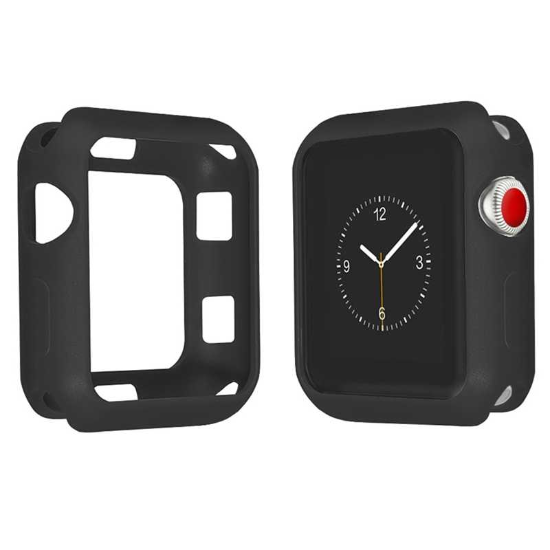 NEW Fall Resistance Soft Silicone Case For Apple Watch iWatch Series 1 2 3 Cover Frame Full Protection 42mm 38mm Strap Band