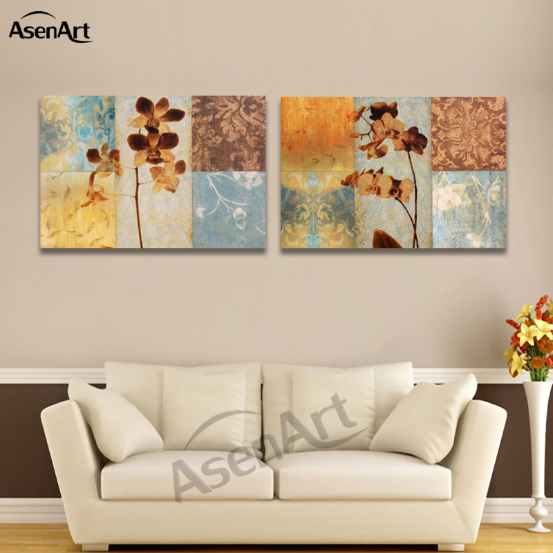 2 Piece Set Abstract Flower Painting Vintage Painting Home ...