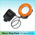 Meike FC-110 LED макро-вспышки в форме кольца для Nikon D7100 D7000 D5300 D5200 D5100 D5000 D3100 D3000 D800 D600 D300s D200 D90 D80