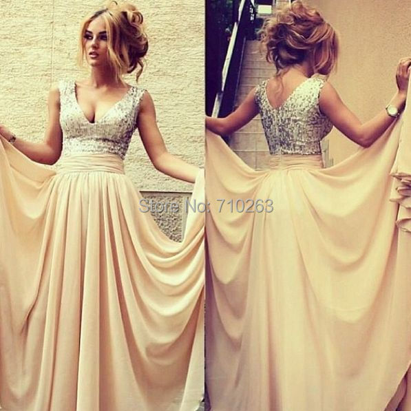 Prom-Dresses Sequins Chiffon Custom-Made Long V-Neck A-Line With Bodice 2/4/6/.. Hot-Sale