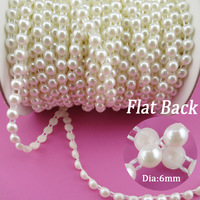 6mm Flat Back Plastic Pearl Trim Ivory White ABS Half Round Pearls Beads String For Craft