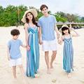 Combinando Roupas da família Pai Mãe Filho Filha Verão 2016 Geométrica Imprimir Vestidos de Praia Da Família Olhar Vestido de Roupa Dos Miúdos Definir