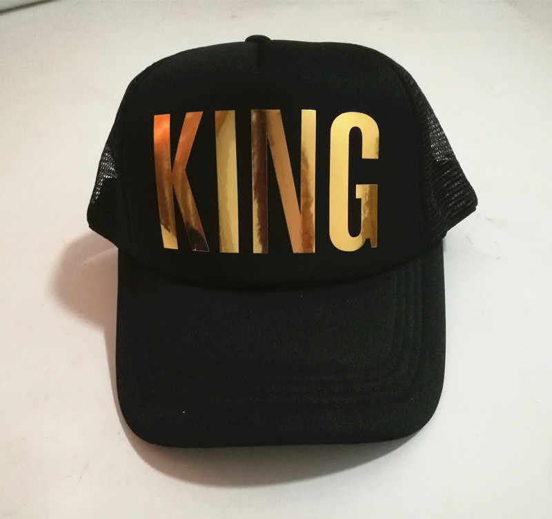 พระมหากษัตริย์พระราชินีเงางามทองพิมพ์หมวกTruckerผู้ชายผู้หญิงฤดูร้อนหมวกS Napbackหมวกสีขาวสีดำคู่หมวกเบสบอล