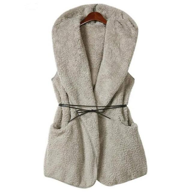 Women Cashmere Hooded Vest Long Section Lamb Velvet Jackets With Belt Lamb Velvet Jacket Open Stitch Chaquetas Mujer