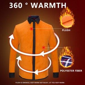 Image 3 - Aoliwen 2020 Fashion Mens Slim Shirts Autumn And Winter Thickening Warm Plaid 24 Colors Male Social Shirt Clothing Size M 5Xl
