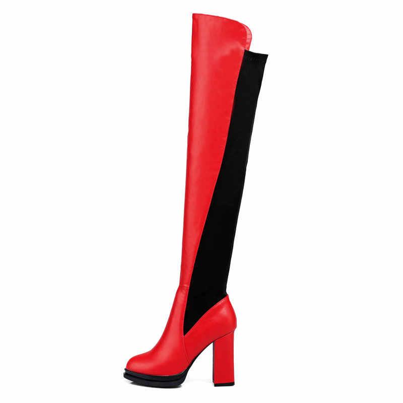 חם חורף עבה עקב גבוה להחליק על מעל הברך מגפי אופנה מעורב צבעים פלטפורמת נשים ירך מגפי לבן אדום שחור
