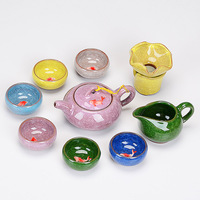Killer ice cracked kelp tea pot purple sand drain ceramic Japanese office use