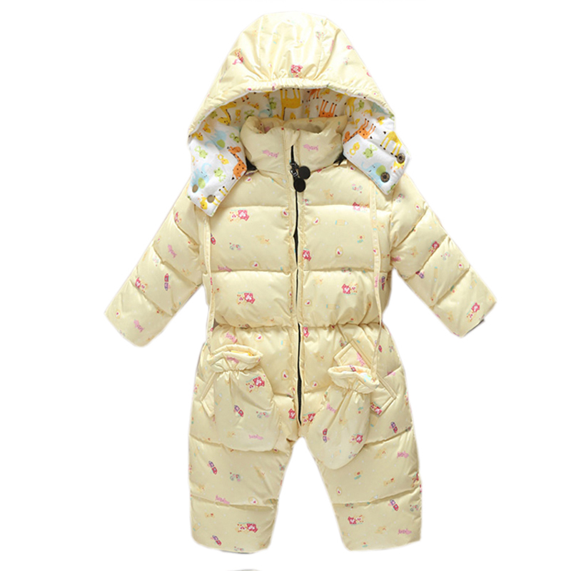 e4108f0aa66d Warm baby romper girls Snowsuit Duck down baby winter romper hoodies ...