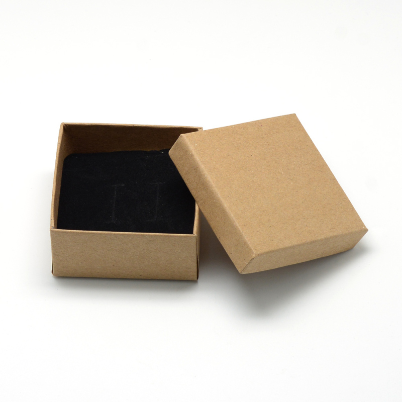 12 pcs 7x7x3.5cm Black Cardboard Jewelry Set Square Boxes for Ring Necklace jewellery boxes and packaging Gift Box F70