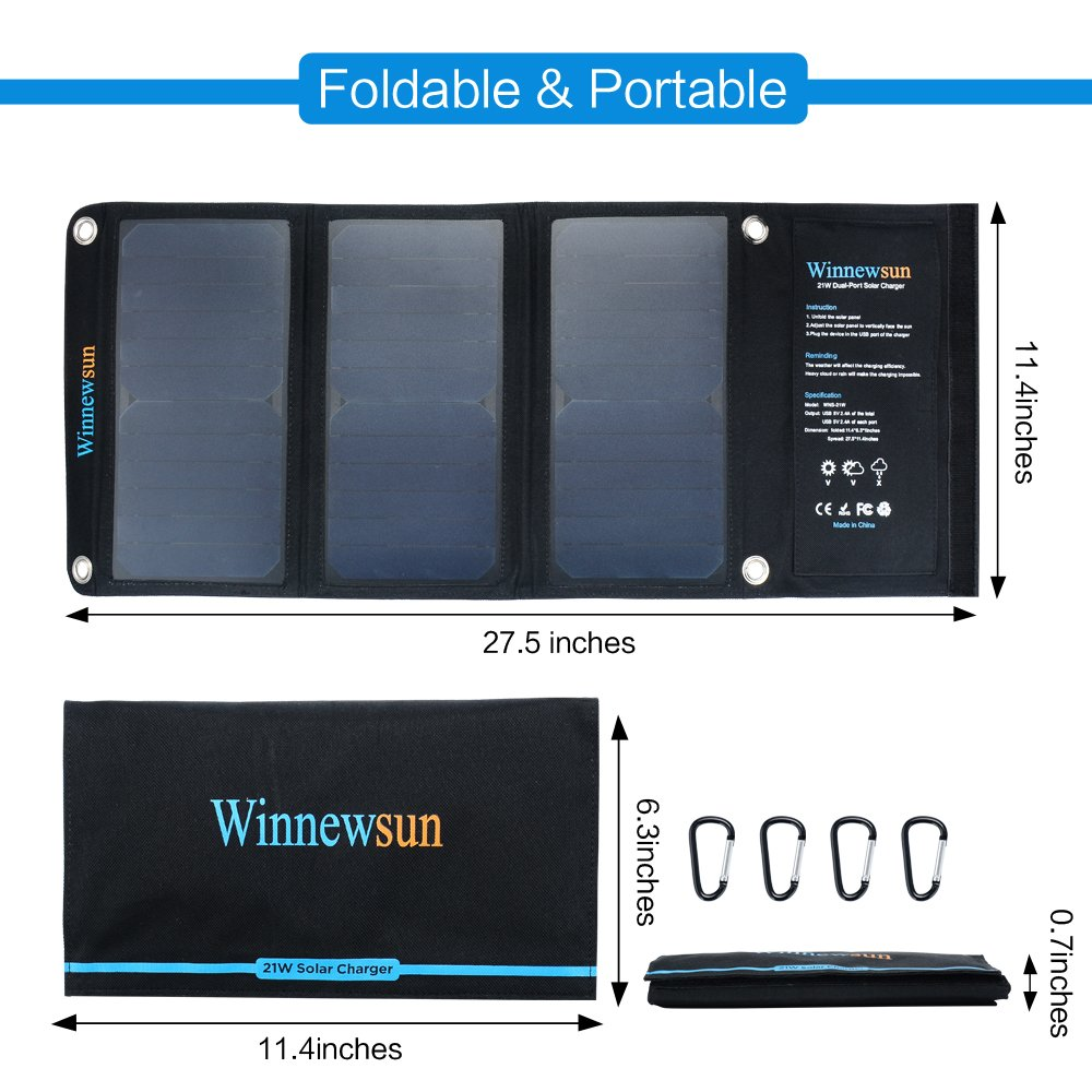 21W Solar Panels Portable Folding Foldable Waterproof Solar Panel Charger Power Bank for Phone Battery Charger Hiking etc Outdos in Solar Cells from Consumer Electronics