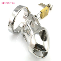 Lock Design Cock Ring Chastity Device Stainless Steel Belt of Fidelity Metal Penis Ring Sex Products Penis Ring Sex Toys for Men