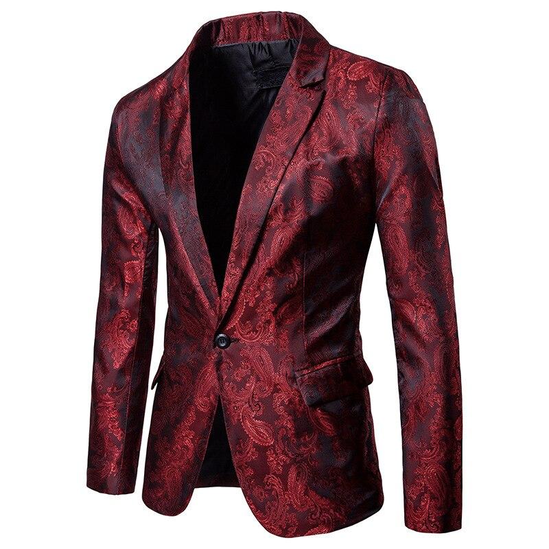 Blazer Men casual slik fabric 2018 Sping Brand New Male Single Button Slim Fit Fashion Blazer Red/Purple/Black Available XXL