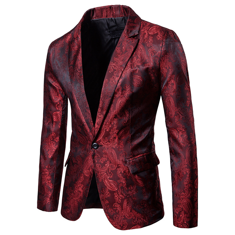 Blazer Men Casual Slik Fabric 2018 Sping Brand New Male Single Button Slim Fit Fashion Blazer Red/Purple/Black Available XXL